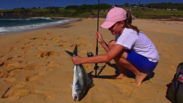 Emily Paxevanos with a Salmon caught at Short Point Merimbula