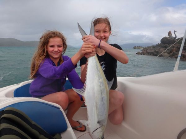Emily and Caitlin Paxevanos with a nice Whitsundays Queenfish caught near Mermaid Point